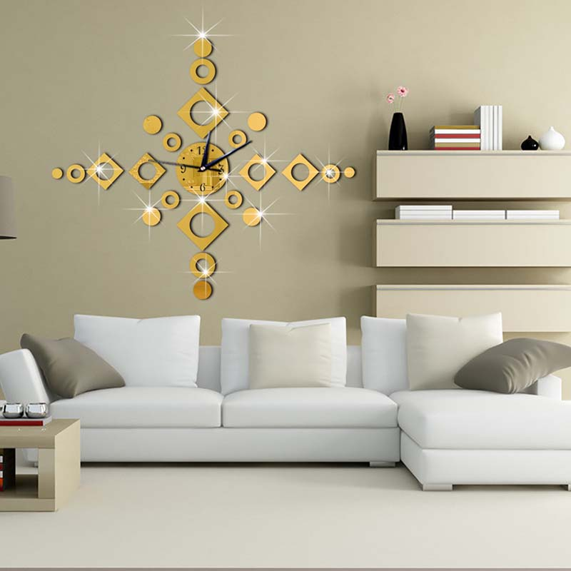 Wall clocks 3D DIY acrylic mirror stickers Living Room Quartz Needle Europe horloge Mute clock Home Decor 1PC|Wall Clocks| |  - title=