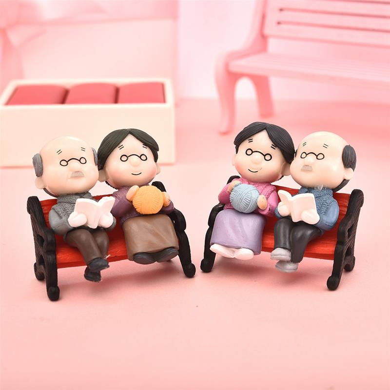 3Pc/set Kawaii Figures Chair Book Grandma Grandpa Old Couple DIY Mini Fairy Garden Ornament Doll Couple Gift Figurines Miniature