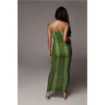 Sexy Leopard Print Snake Skin Dress Women Backless Elegant Bodycon Slim Pencil Dress Plus Size See Through Evening Party Dresses 3