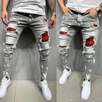 1D European and American men's perforated printed jeans good quality jeans wholesale wholesale jeans custom wholesale jeans недорого