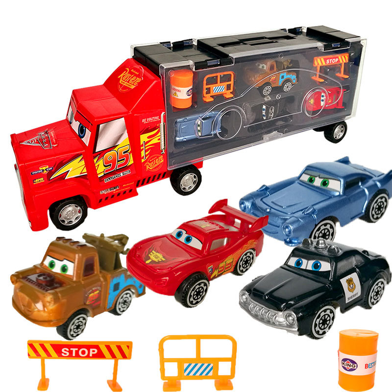 Cars Disney Diecast Alloy Pixar Cars 3 Metal Truck <font><b>Hauler</b></font> with 4 Small Cars Disney Cars 3 Jackson Storm McQueen Toys For Kids image