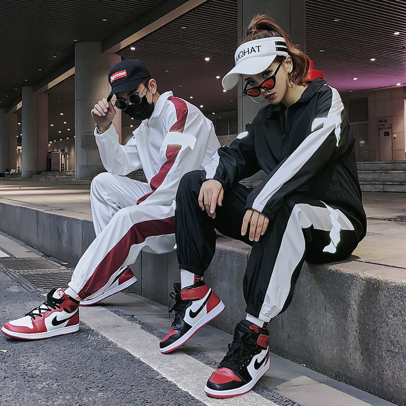 Spring New Style Men And Women Couples Set Youth Fashion Cool Reflective Coat Trend Sports Casual Slim Version Of Model
