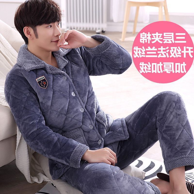 2020 Sale Pajamas Men Three-layer Thickened Coral Plush Pajamas With Men's Padded Jacket Plus Size Long Sleeve Household Suit
