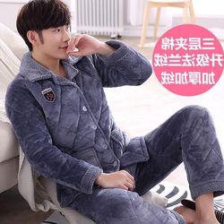 2020 Verkoop Pyjama Mannen Drie-Layer Verdikte Coral Pluche Pyjama Met Mannen Gewatteerde Jas Plus Size Lange Mouwen huishouden Pak