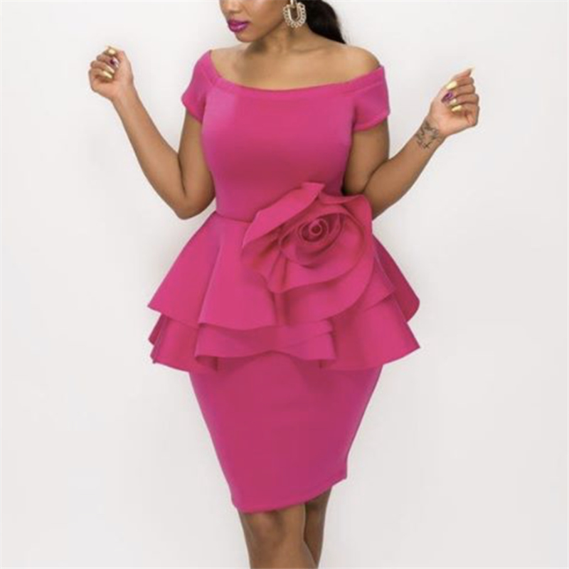 Sexy Party Dress Ruffle Off Shoulder Peplum Flower Patchwork Bodycon Women Vestido Celebrate Event Occasion Dinner Date Out Robe