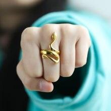 Кольца в виде змеи стиле панк для женщин и мужчин витое ювелирное