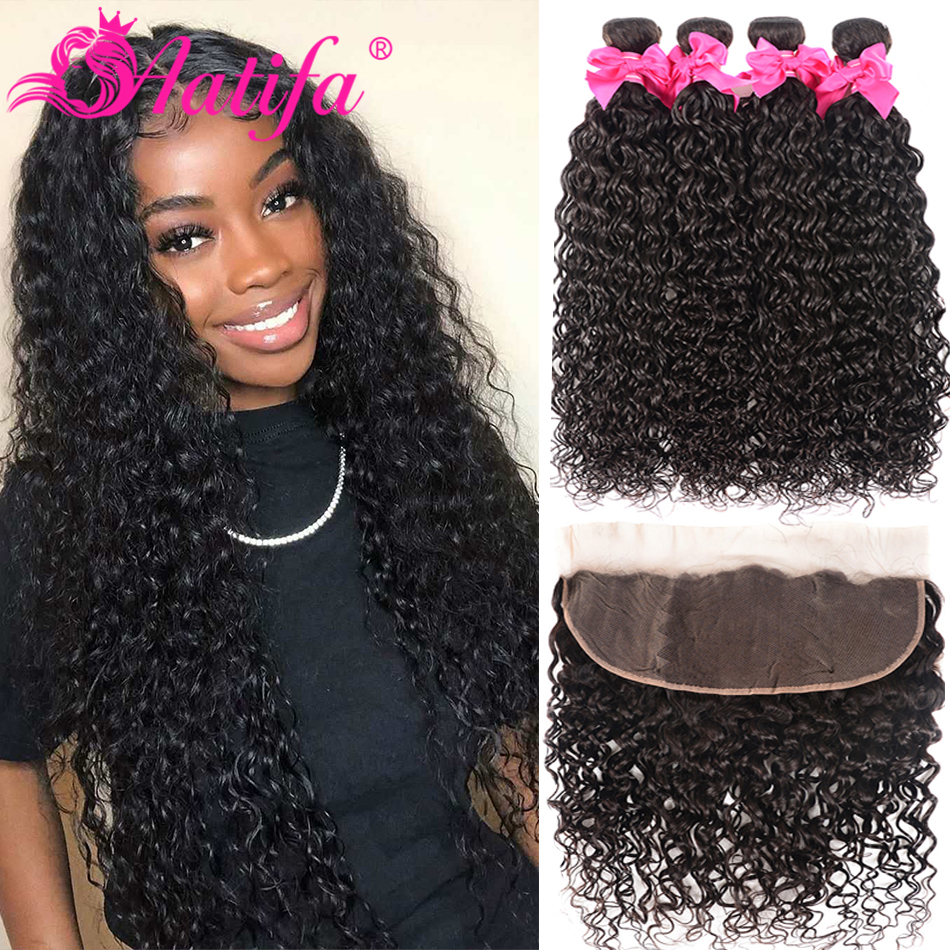 Transparent Lace Frontal With Bundles Brazilian Water Wave Bundles With Frontal 100% Aatifa Remy Human Hair With Closure