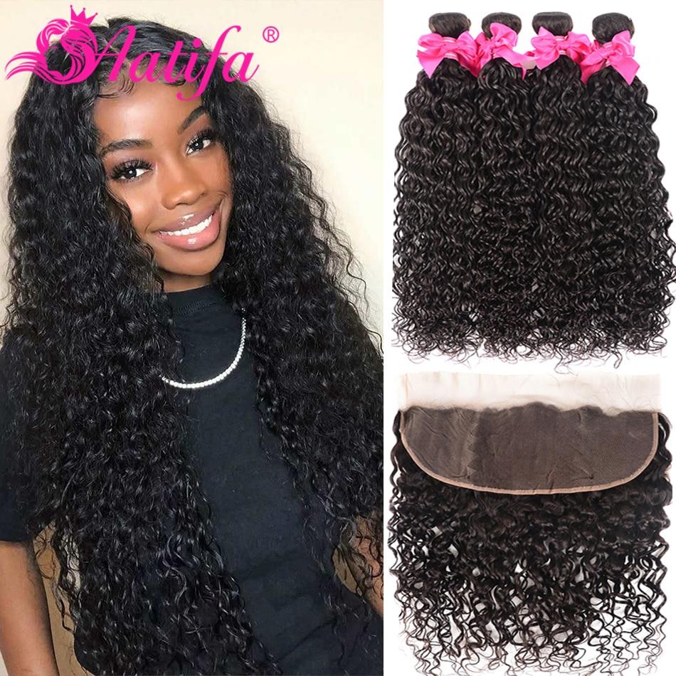 Transparent Lace Frontal With Bundles Brazilian Water Wave Hair Bundles With Closure 3 Bundles With Frontal Water Wave Hair Remy
