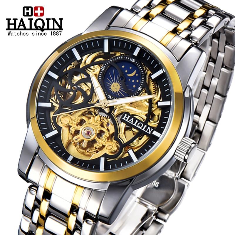 HAIQIN Gold Mechanical Men's Watches Top Brand Luxury Watch Men Military Wristwatch Mens Hollow Skeleton Tourbillon Reloj Hombre