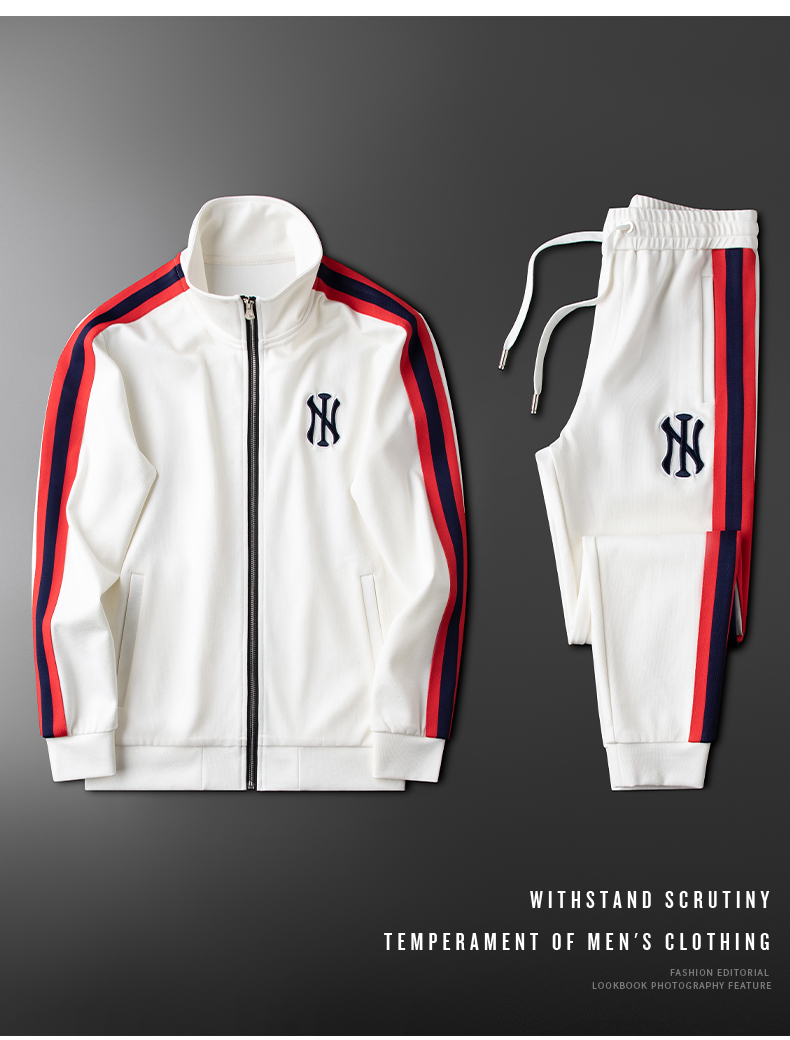 White Two-piece Casual Sports Suit Couples Suit New Trend Wild Slim Fit