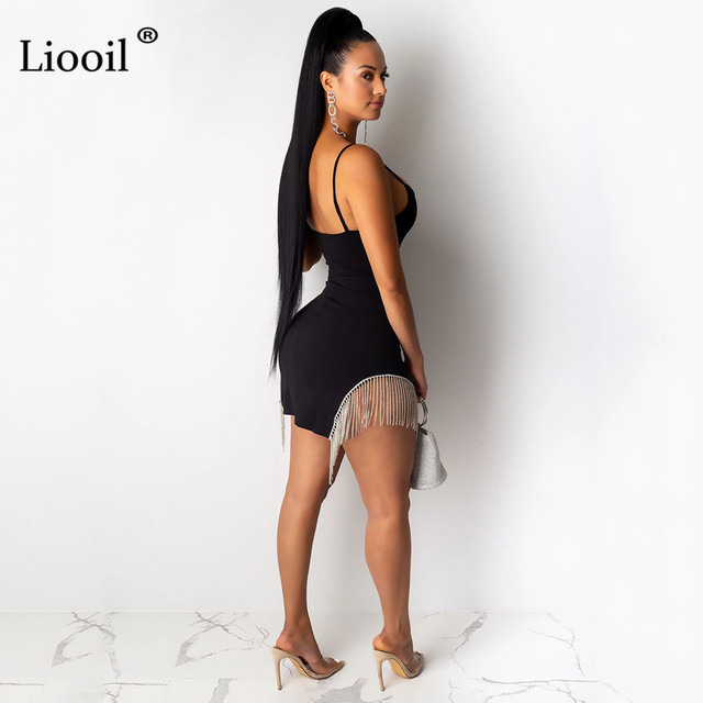 Liooil Tassel Bodycon Mini Dress Women Autumn Sleeveless V Neck High Waist Black White Sexy Dresses Party Night Club Dress 2019 2