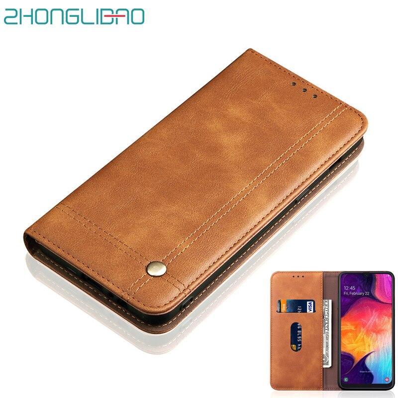 Luxo do Caso Da Aleta Magnética para Samsung Galaxy A50 A30 2019 Retro Carteira de Couro Stand Titular Do Cartão UM 30 50 360 cheio Proteger Cobertura