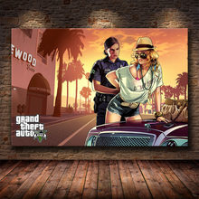Grand Theft Auto V Game Poster GTA 5 Artwork Wall Art Picture Print Canvas Painting For Home Living Room Decor