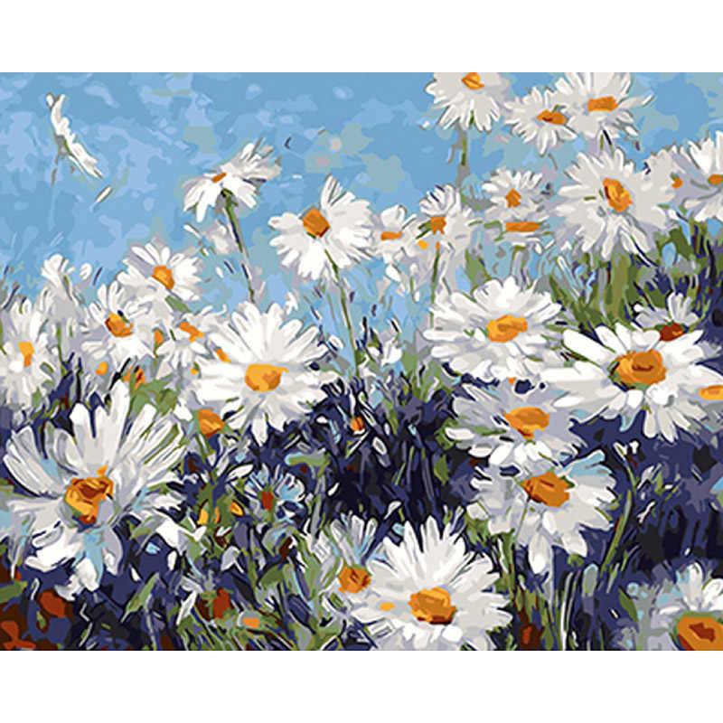 Frameless สีขาวดอกไม้ DIY จิตรกรรมโดยตัวเลข Modern Wall Art ภาพสีอะคริลิคของขวัญที่ไม่ซ้ำกันสำหรับตกแต่งบ้าน 40X50 cm Artwork