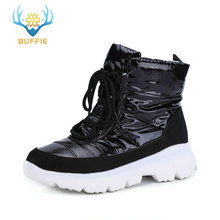 Купить с кэшбэком New style 2019 black women boots snow boots winter low upper shoes non-slip white outsole 50% natural wool lace up free shipping