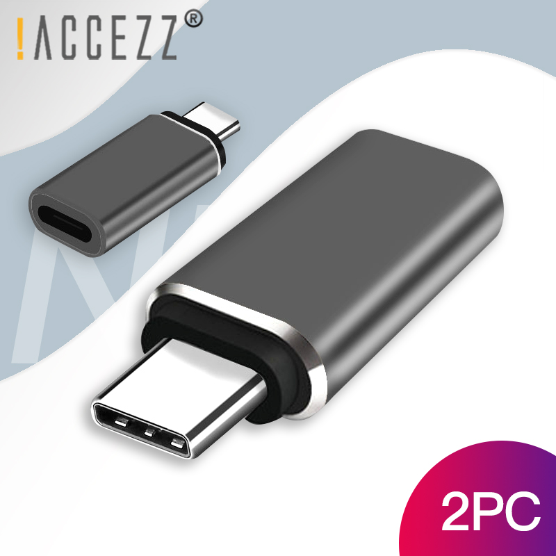 !ACCEZZ 2PC Type C Adapter Male To 8 Pin Female USB C Fast Charging Connector Data Sync OTG Converter For Huawei P20 Pro Xiaomi