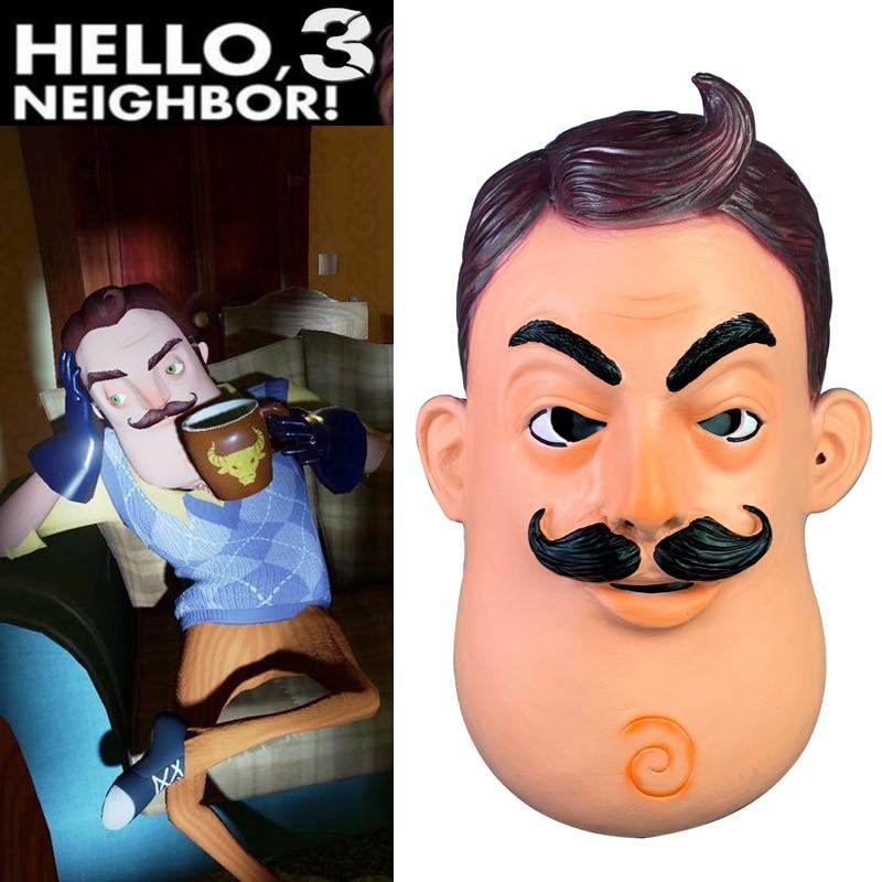 Horror gra witam sąsiada maska Cosplay rekwizyty lateksowa pełne głowy kask kobiety mężczyźni Halloween sąsiad maskiAkcesoria do strojów dla chłopców   -