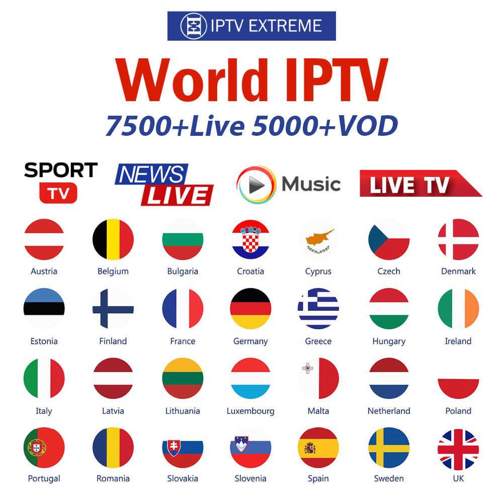 7500 + Live IPTV espagne M3U France royaume-uni allemand arabe néerlandais suède français pologne Portugal Europe Smart TV IPTV M3U IP TV abonnement