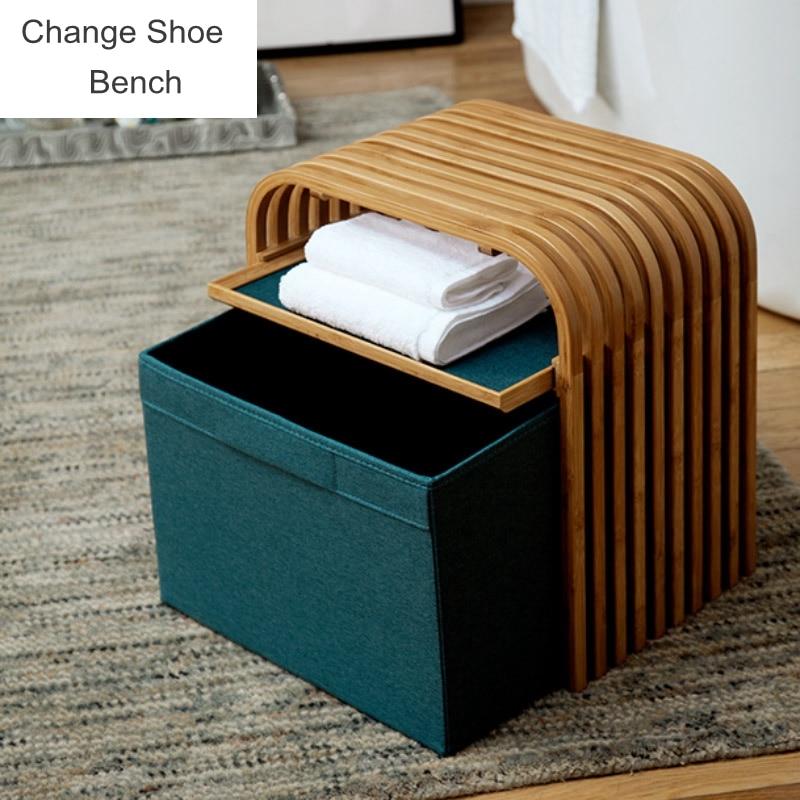Simple Modern Small Sofa Change Shoe Bench Shoe Rack Space Saving Wardrobe Storage Cabinet Chests Organizer Portable Shoe Bench Stools Ottomans Aliexpress