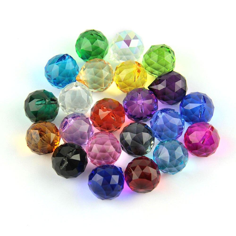 Feng Shui 10pcs/Lot Mixed Color Balls Crystal Chandelier Pendant Glass Prism Balls For Wedding Party Lamp Decoration