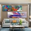 DDHH Größere Größe Abstrakte Blau Lila Wolke Landschaft Poster Leinwand Drucke Nordic Wand Kunst Malerei Für Wohnzimmer Wohnkultur