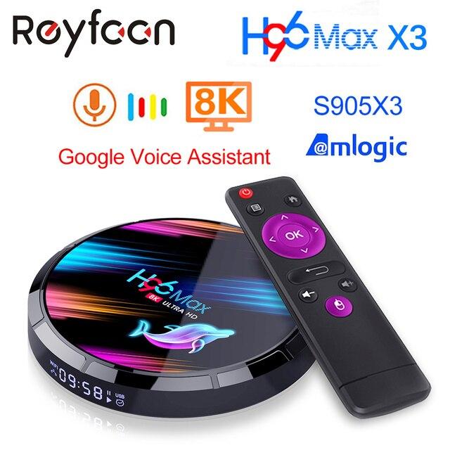 안드로이드 9.0 TV 박스 H96 맥스 X3 4 기가 바이트 128 기가 바이트 64 기가 바이트 32 기가 바이트 Amlogic S905X3 지원 5G 와이파이 1080p 4K 60fps 구글 플레이어 유튜브 8K H96MAX