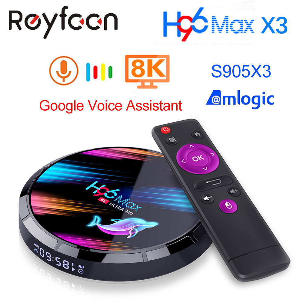 Android 9.0 TV Box H96 MAX X3 4GB 128GB 64GB 32GB Amlogic S905X3 Support 5G Wifi 1080p 4K 60fps Google Player Netflix Youtube 8K