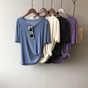 Женская свободная шелковая футболка с коротким рукавом, Корейская версия, с круглым вырезом, лето 2020