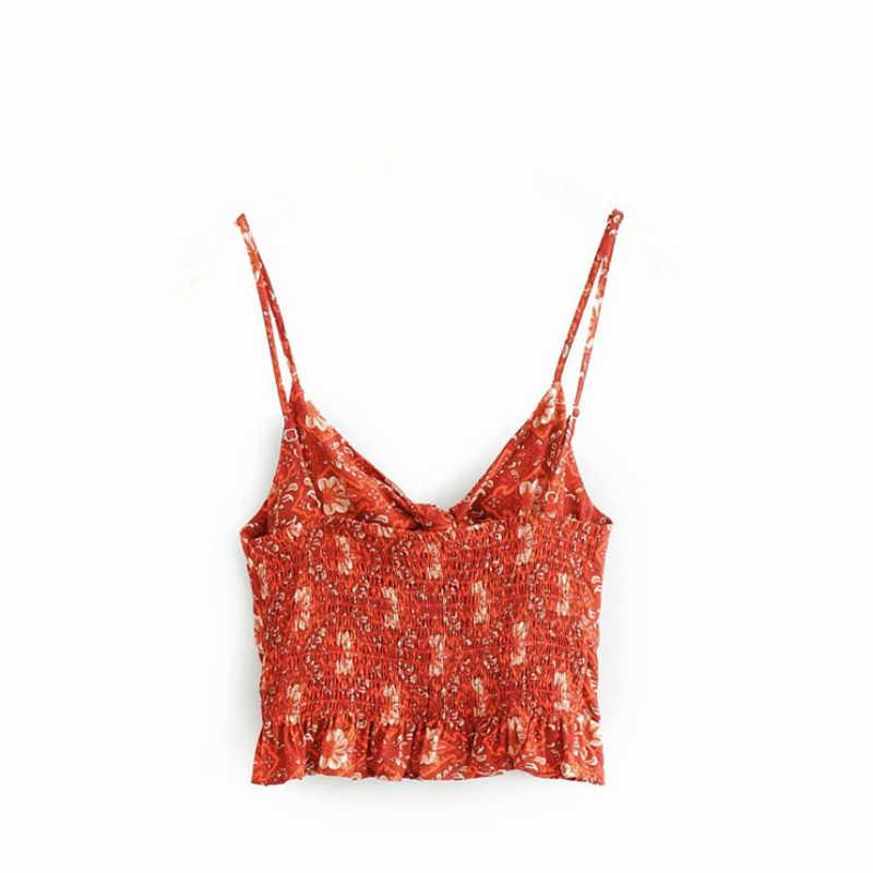 Винтажный шикарный модный женский красный укороченный топ без рукавов с цветочным принтом, пляжный жилет в богемном стиле, короткая майка с бантом и оборками в стиле бохо