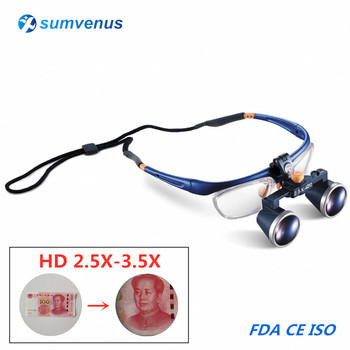 2.5X 3.5X Magnification Binocular Dental Loupe Surgery Surgical Magnifier Medical Operation Loupes Removable Protective Glasses