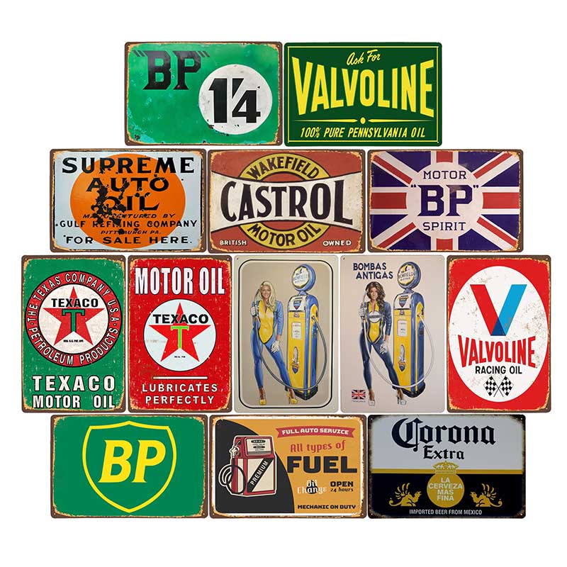 Gas Station Metal Tin Signs Motor Oil
