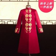 2020 עישון Masculino Xiuhe חליפת גברים של סיני חתונה שמלת גדול הדרקון ופניקס שמלת מנדרינית מעיל חתן של סגנון