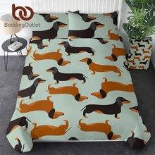 BeddingOutlet Cartoon Dog Kids Bedding Set Cute Dachshund Sausage Duvet Cover Set Pet Printed Brown and Black Bedclothes 3pcs