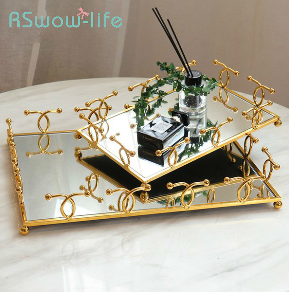 Metal Tray Jewelry Decorative Plate Hotel Home Mirror Storage Trays Living Room Decoration Serving Tray For Kitchen Storage