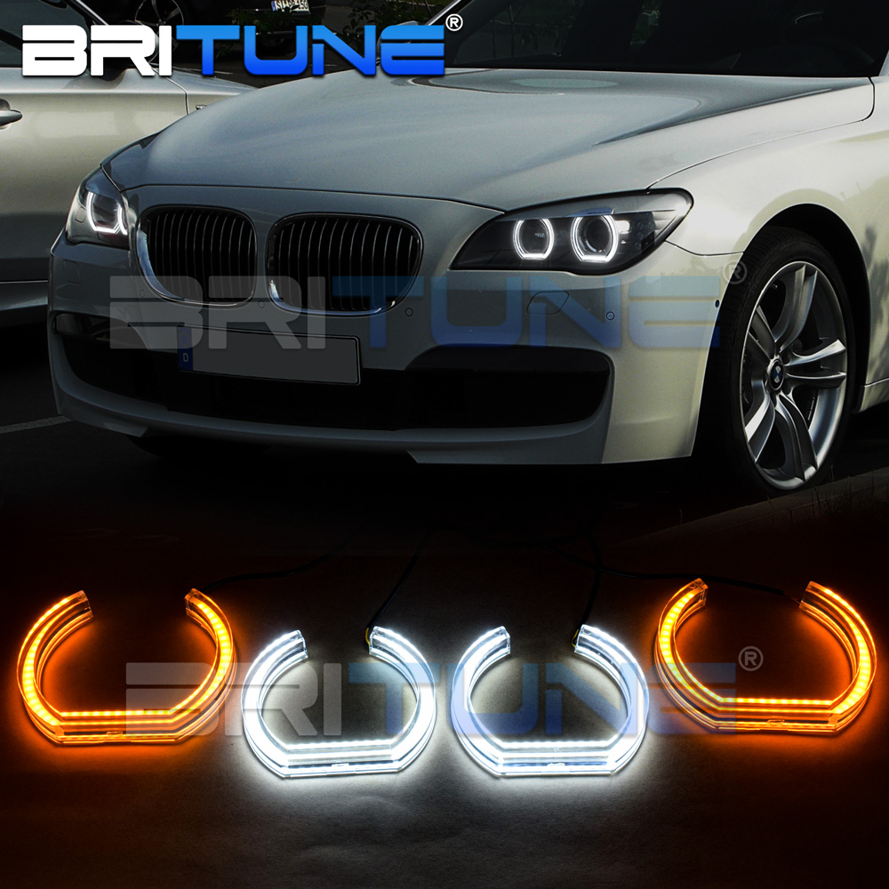 DTM Angel Eyes For BMW F01 F02 F03 F04 730d 740d 740i 750i 760i Xenon Headlight Turn Signal Lights Halos Kit Accessories Tuning