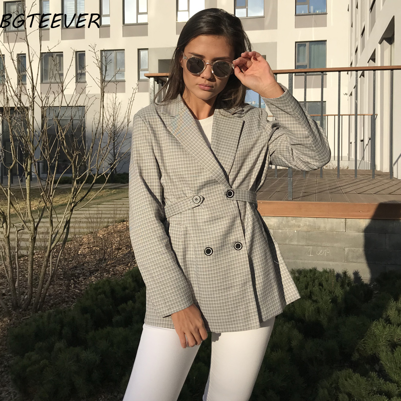 Vintage Double-breasted Women Blazer Elegant Women Suit Jacket Autumn Plaid Jacket Female Office Ladies Outerwear 2 Styles Wear
