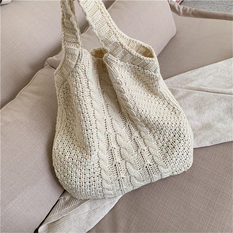 Women Fashion Solid Color Handbag Shoulder Bag Ladies Simple Style Knitted Hollow Shopping Bag Casual Mummy Bag