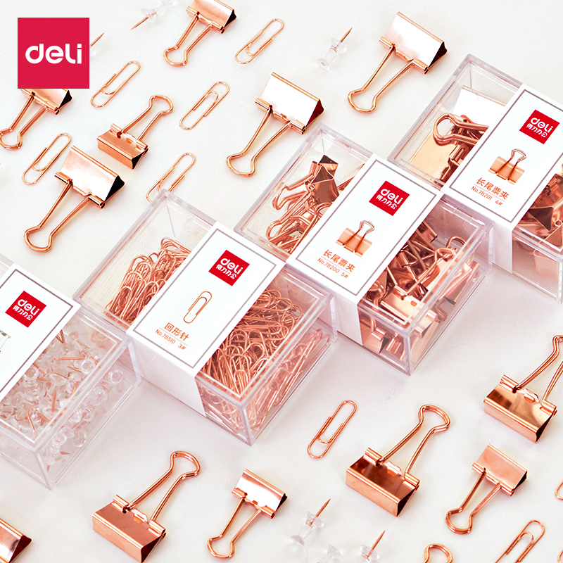 Deli  Rose Gold  Metal Binder Clips Paper Clip  School Office Learning Supplies Color Random High Quality