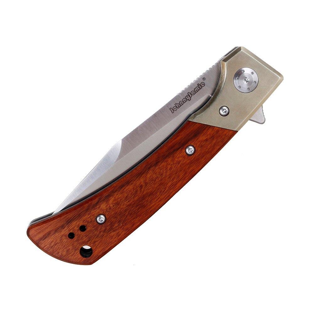 Охотничий складной нож JohnnyJamie BJ110 D2 с ручкой из латуни и сандалового дерева