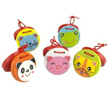 Adorable Kids Musical Instrument Wood Animal Castanets Toy Educational Block Toddlers Pull-along Set
