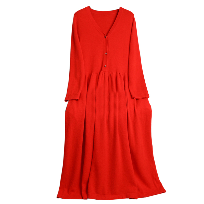 Image 3 - BELIARST 2019 autumn and winter new V neck cashmere dress female  temperament long paragraph over the knee big dress long skirtDresses