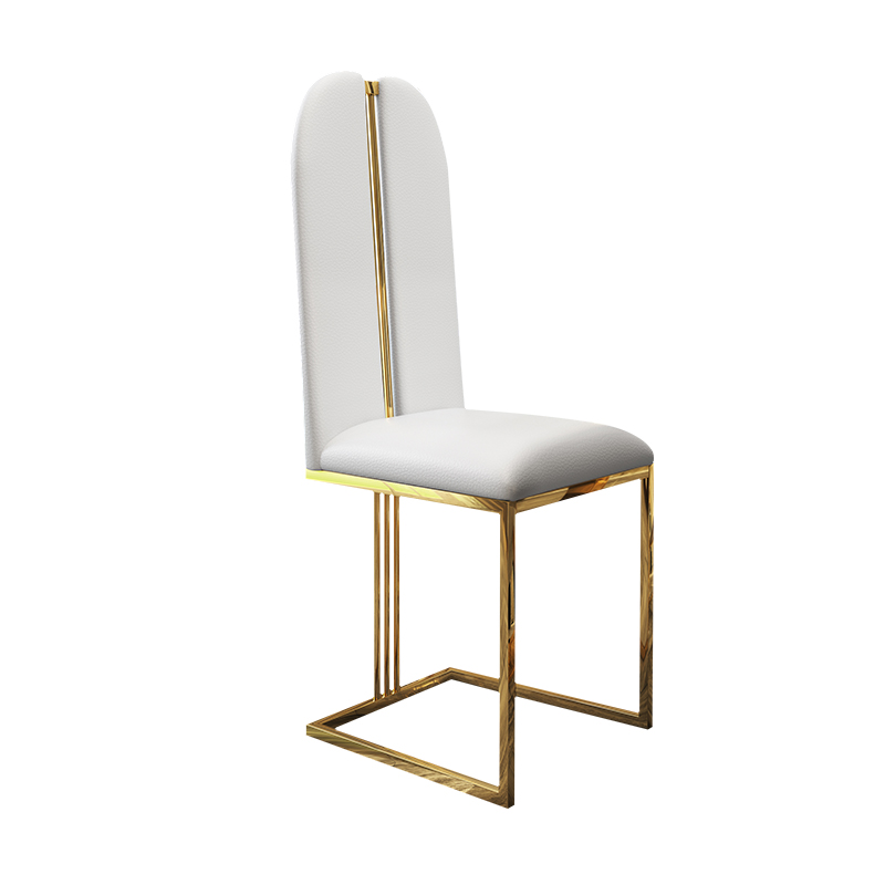Post Modern Luxury Dining Chair Fashion Metal Stainless Steel High Back Hong Kong Style Home Restaurant Leather  Furniture