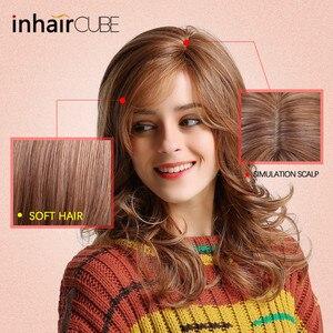 """Image 4 - Inhair קוביית ארוך גלי טבעי חום קוספליי פאות 18 """"טבעי נשים של פאת תלבושות המפלגה חום עמיד סינטטי מזויף שיער חתיכות"""