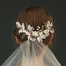 NPASON bride hair accessories crystal hairband Pearl Headwear New Arrival combs women tiara Inserts Charming Bride JewelryS8255 цена и фото
