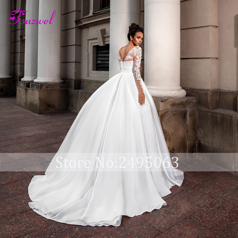 Image 2 - Fsuzwel Romantic Scoop Neck Long Sleeve A Line Wedding Dress 2020 Luxury Beaded Appliques Satin Court Train Vintage Bridal GownWedding Dresses   -