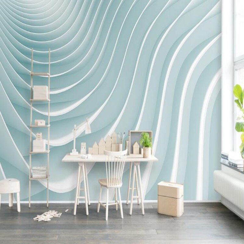 Custom papel DE parede 3d,Light blue striped mural used for decoration wallpaper of living room bedroom kitchen background