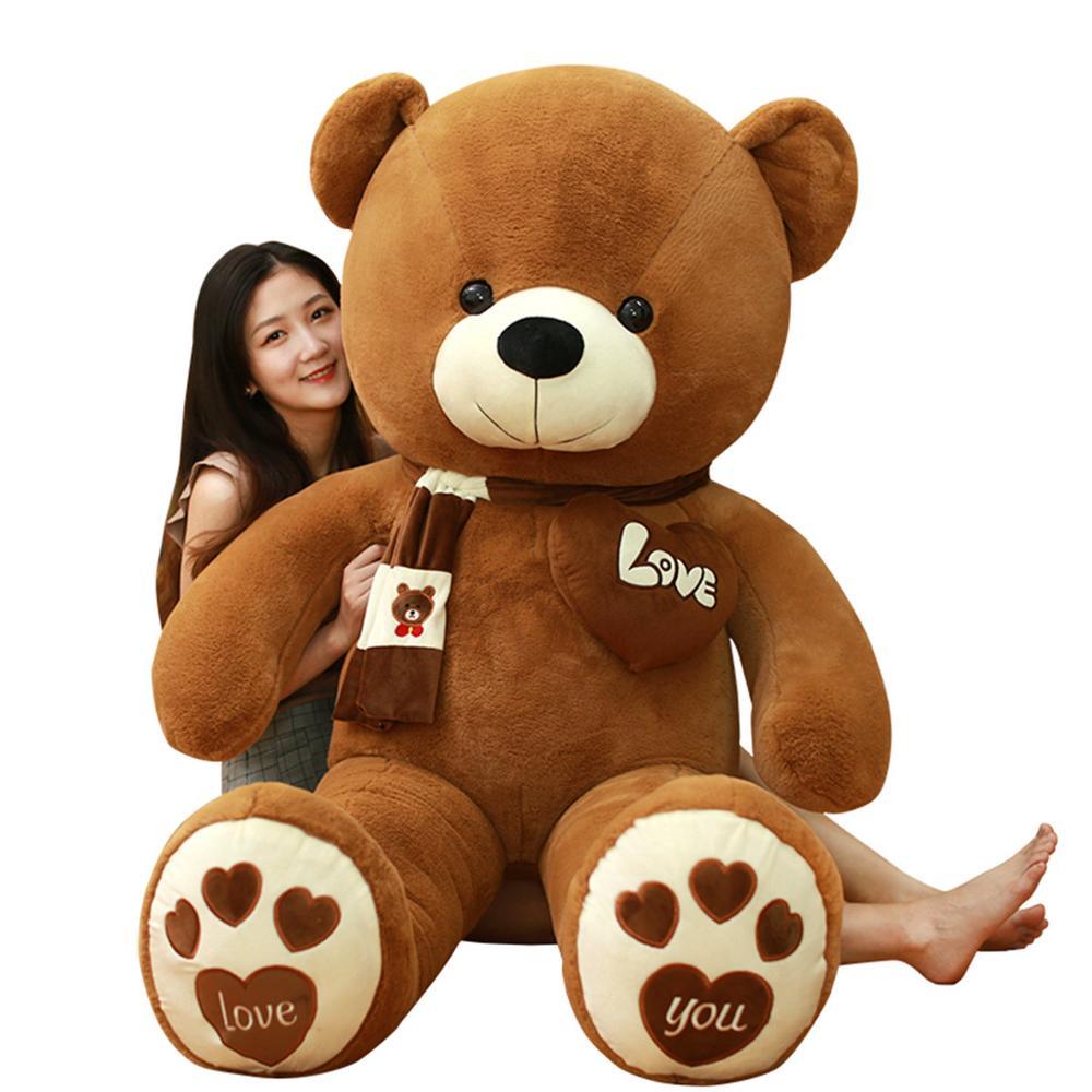 Huggable 고품질 4 색 스카프와 테디 베어 박제 동물 곰 인형 장난감 인형 베개 키즈 연인 생일 아기 선물