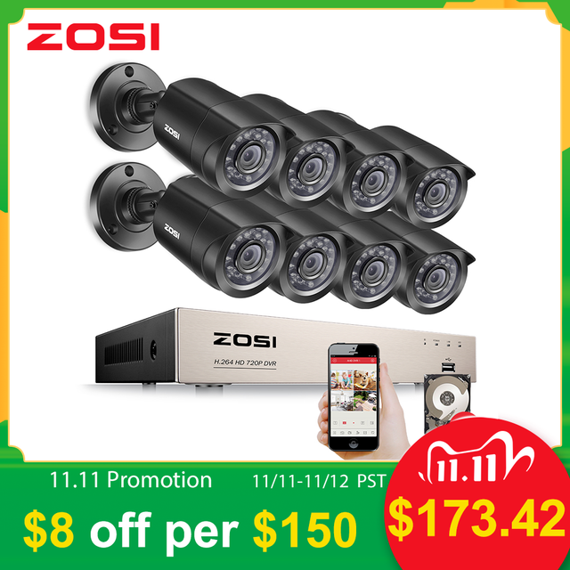 ZOSI 8CH Video Surveillance System 8x720P 1.0MP Outdoor/Indoor IR Weatherproof Home Security Cameras HD CCTV DVR kit
