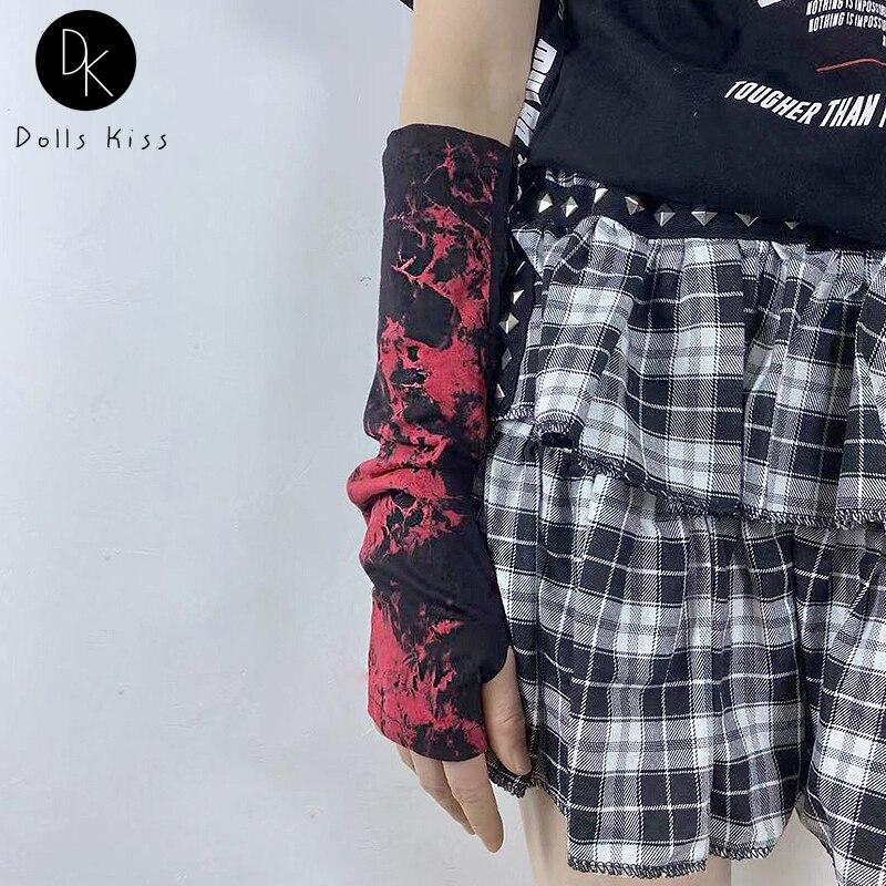 Dark Punk Lady Gothic Fingerless Elbow Length Red Gloves Ninja Female Street Hip-hop Mittens Women Lolita Cool Tie Dye Glove