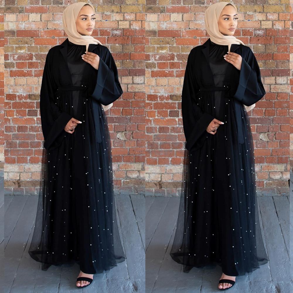 Black Open Abaya Kimono Cardigan Hijab Muslim Dress Women Turkey Kaftan Dubai Caftan Marocain Islam Clothing Ramadan Abayas Robe